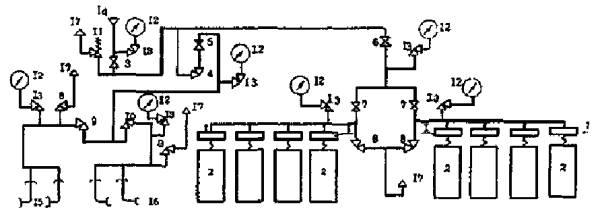 Типовые схемы наполнения кислорода в баллоны.  Рис.1. Типовая схема наполнения кислорода в баллонных цехах и...