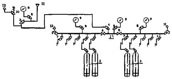 Рис. 2. Типовая схема наполнения одиночных кислородных баллонов.  1 - рампа наполнительная 2?5 баллонов (2...