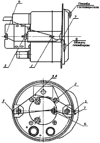 Принципиальная схема пломбирования электромеханического спидометра с электроприводом 12.3802.  Рис.17.