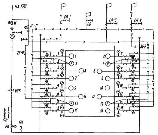 Схема газопроводов:
