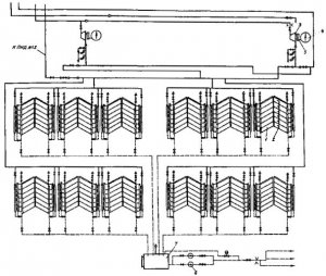 Рис. 8.Тепловая схема калориферной установки блока 800 МВт Углегорской ГРЭС.
