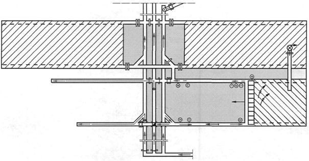 Рис. 9.2.Схема проветривания выемочного столба с отводом метановоздушной смеси по выработанному пространству и...