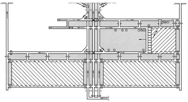 Рис. 9.5.Схема проветривания выемочного столба с отводом метановоздушной смеси по выработанному пространству в камеру...