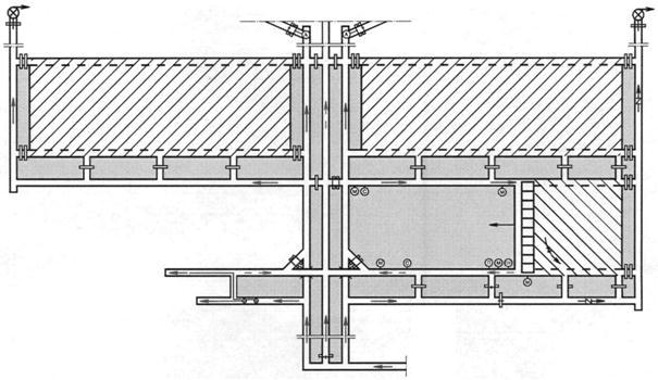 Рис. 9.8.Схема проветривания выемочного столба с отводом метановоздушной смеси по выработанному пространству и...