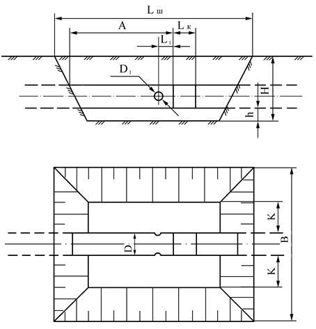 D - диаметр нефтепровода; D1