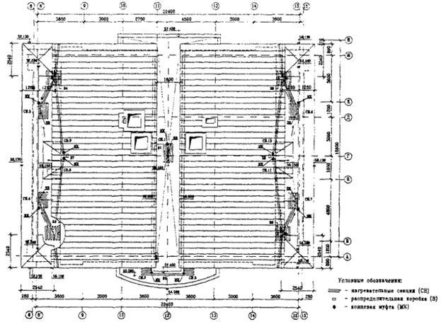 Схема установки нагревательных